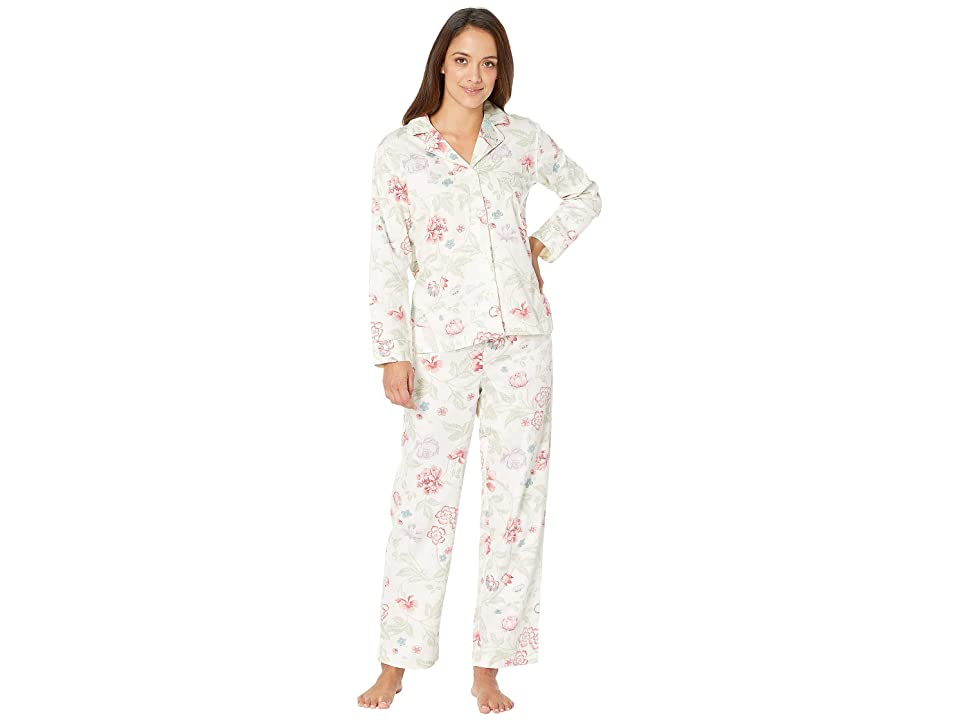 LAUREN Ralph Lauren Petite Sateen Long Sleeve Classic Notch Collar Pajama Set (Ivory Floral Print) Women