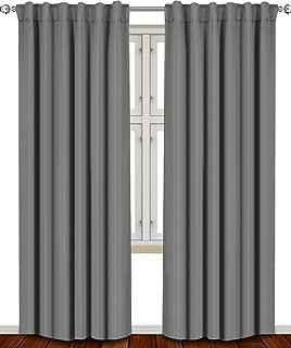 Utopia Bedding Blackout Room Darkening Curtains Window Panel Drapes Grey - 2 Panel Set 52x84 Inch