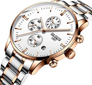 Men's Analog Quartz Watches Chronograph Wrist Watch for Men Business Full Stainless Steel Boys Stop Watch, Waterproof, Luminous, Gifts