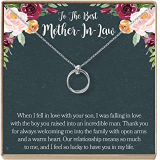 Dear Ava Mother-in-Law Gift Necklace: to My Mother-in-Law, Mother of My Husband, 2 Linked Circles