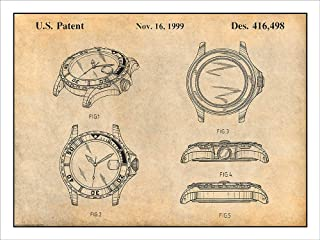 Studio 21 Graphix Rolex Diving Watch Patent Print Art Poster UNFRAMED Parchment 18