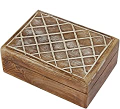 STORE INDYA Christmas Thanksgiving Gifts Rustic Wooden Keepsake Storage Box Multipurpose Jewelry Trinket Holder Accessorie...