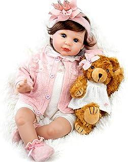 Milidool Reborn Baby Doll 22 Inch Lifelike Realistic Girl Baby Dolls with Teddy Bear Set