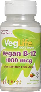 VegLife B-12 Plus Folic Acid Vegan Lozenge, 1000 mcg, Orange, 50 Count