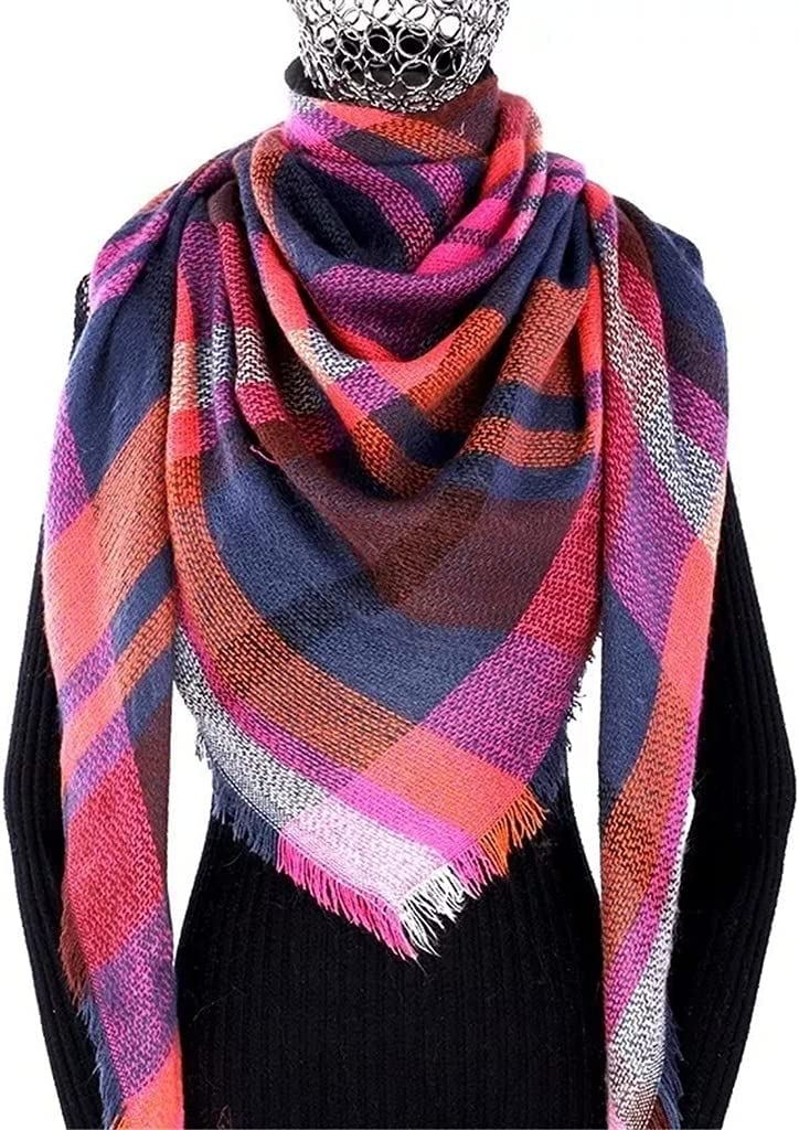 CDQYA Winter Max 74% OFF Cashmere Plaid Deluxe Scarf Shawl Poncho Triangle Ba Woman