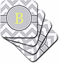 3dRose Grey and White Chevron with Yellow Monogram Initial B - Soft Coasters, Set of 8 (CST_222090_2)