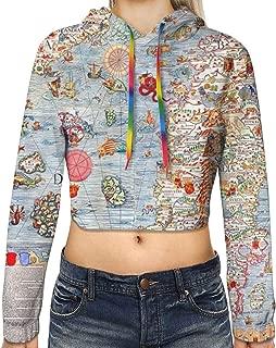 Carta Marina Sea Monster Map Long Sleeve Crop Top Hoodie Workout Cropped Hoodie Pullover Sweatshirt