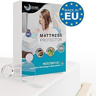 Dreamzie - Protector de Colchón 90 x 190/200 cm Impermeable - Tela 100% Algodón Oeko Tex - Cubre Colchón Hipoalergénico, Anti-Bacteriano, Anti-Acaros - Elásticos de hasta 28cm - Made in EU