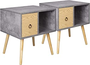 WOLTU Bedside Tables Set of 2 Grey with Drawer Retro Side Tables Nightstands Bedroom Bedside Units Cabinets 48x40x50cm TSR72gr-2