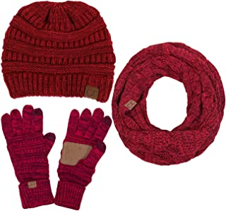 ScarvesMe 3pc Two Tone Trendy Warm Chunky Soft Stretch Cable Knit Beanie, Scarves and Gloves Set
