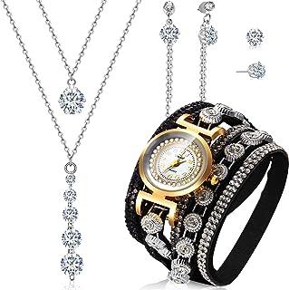 Hicarer 4 Piezas Pulseras de Envolver Retro Juego de Pendientes Collar de Diamante de Imitación de Reloj de Cuarzo Colgant...