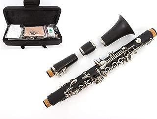 Yinfente Professional Clarinet Ebonite Wood B Flat C Key 2 Barrels With Case Cloth Reed Accessories (Ekeyclarinet)