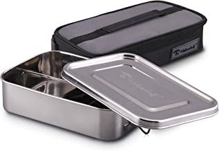 URBANHUT Stainless Steel Bento Box for Adults - Kids, Wide Divided Eco Lunch Food Containers, Plastic Free Metal Boxes Tiffin Lunchbox with Lunch Bag for Salad, Meat, Veggies (Trio)