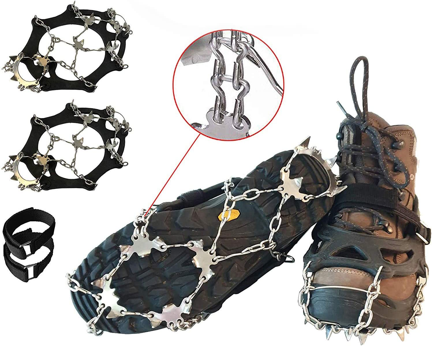 Limm Crampons Ice Traction Cleats M//L//XL Microspikes Grips Quickly /& Easily Over Footwear for Snow and Ice Walk Hike Portable Sizes Ice Fishing Climb