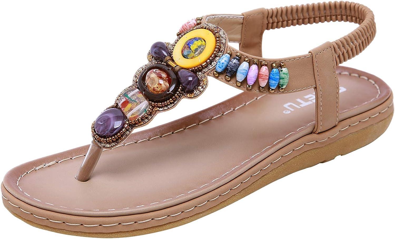 Insun Women's Bohemian Beaded Beach Summer Ankle Strap Flip Flop Thong Flat Sandals
