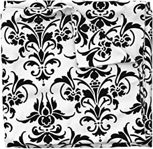 Roostery Duvet Cover, Damask Fleur De Lis Modern Victorian Black and White Print, 100% Cotton Sateen Duvet Cover, King