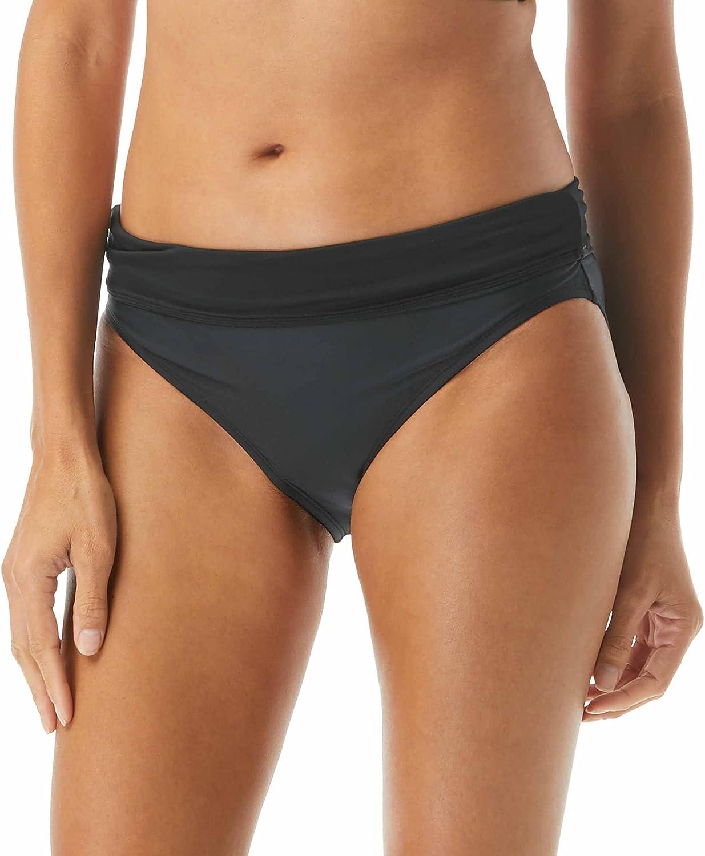 Impulse Rollover Bikini Bottom — Full Coverage Side Shirred Swim Bottom, Low Rise or High Waisted