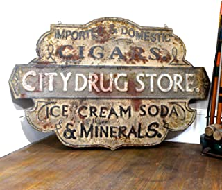 Drug Store Trade Sign in Pressed Tin - Stamped Cigar Vintage Style Soda Fountain