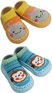 2 Pairs of Baby Boys Girls Fleece Non-Slip Slippers Socks 12-24 Months (Yellow)