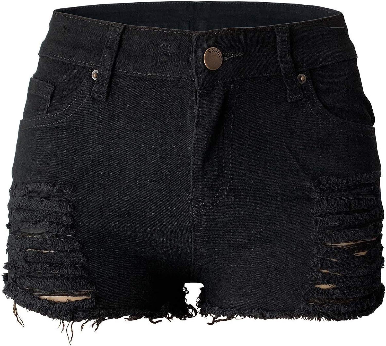 Aodrusa Womens Ripped Denim Shorts Mid Rise Body Enhancing Curvy Cutoff Distressed Jeans