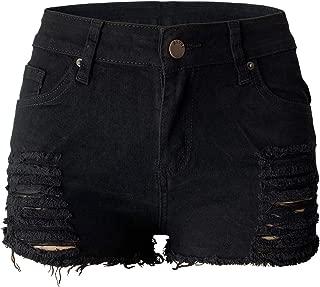 Womens Ripped Denim Shorts Mid Rise Body Enhancing Curvy Cutoff Distressed Jeans
