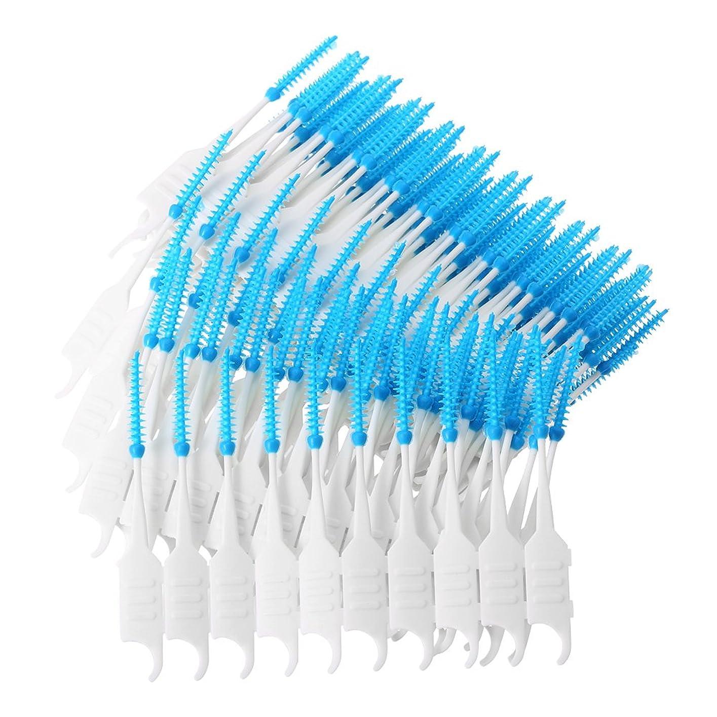 音節クローン合図Decdeal 200個/箱 デンタルフロス 歯間ブラシ 歯スティック 軟質シリコーン ダブルエンド トゥースピックオーラルケア