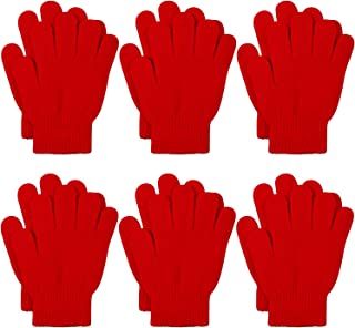 Cooraby 6 Pairs Kids Knitted Magic Gloves Teens Warm Winter Stretchy Full Fingers Gloves (Red, 6-12 Years)