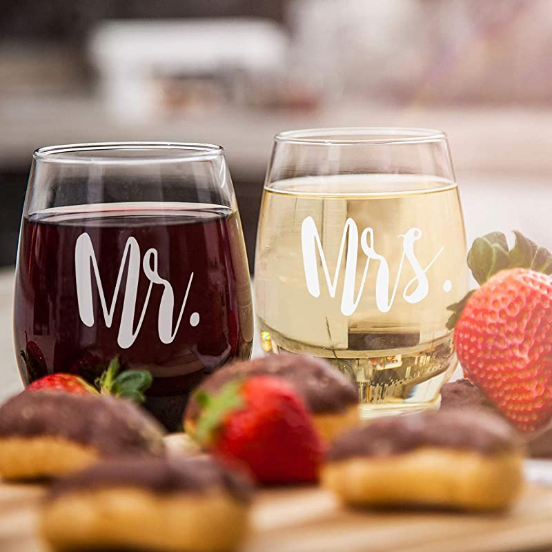 Mr Mrs Wine Glass Set Of 2 Stemless Wine Glasses Engagement Birthday Anniversary Gift For Couples Lovers Parents Man Woman Special Commemorative Gift Perfect Party Decoration 15Oz