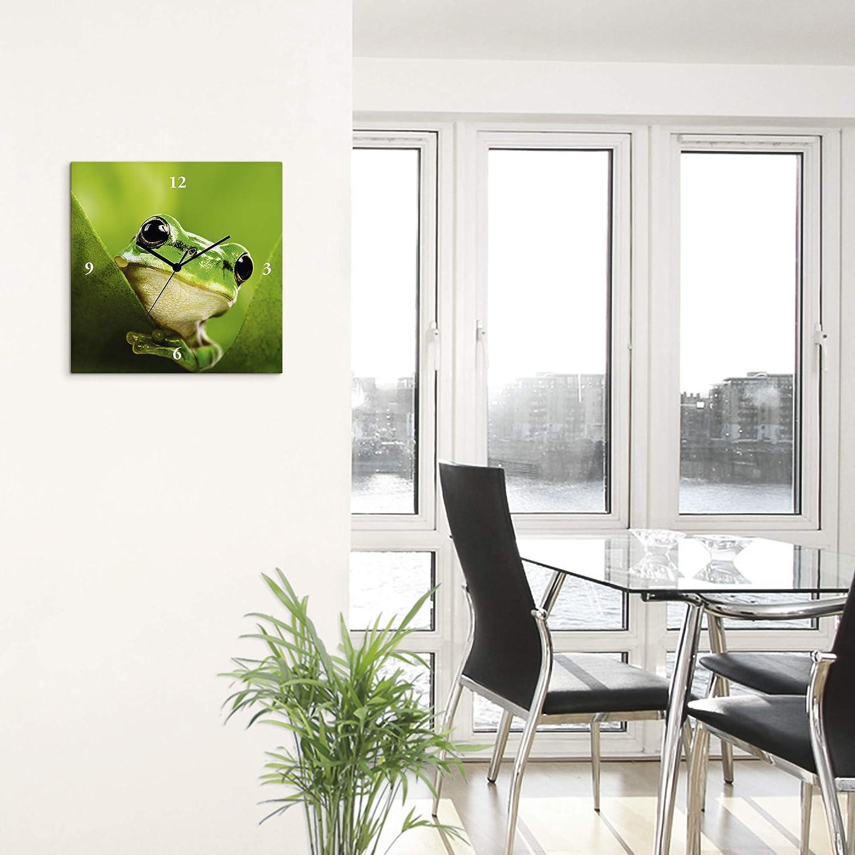 Artland Wanduhr ohne Tickgeräusche Leinwand lautlos Quarz Frosch Laubfrosch T5WY
