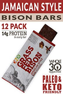 DNX Grass Fed Protein Bars   12-Pack Keto Friendly Meat Snack With a Truly Epic Taste   Whole30 Approved, Gluten Free, Organic Ingredients, No Preservatives (Bison Jamaican Style, 12 - Pack)
