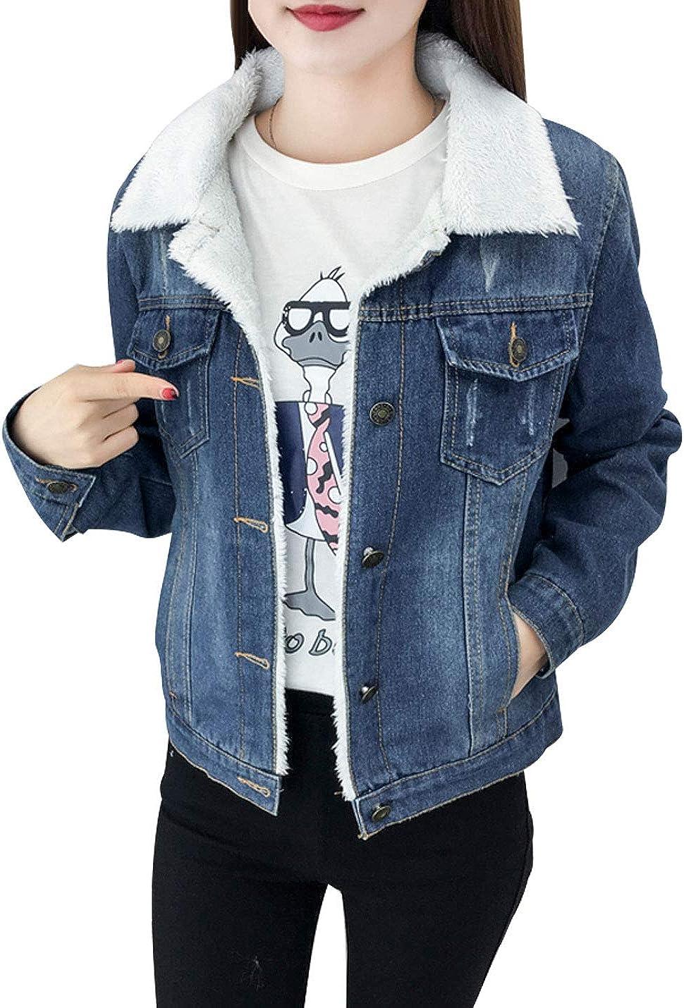 Omoone Women's Faux Fur Collar Short Ripped Fleece Lined Loose Denim Jacket Coat