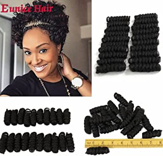 #1B Eunice Hair Short Curly Saniya Curl Crochet Hair Crochet Braids Natural and Soft Bouncy Twist Hair 20 Strands/Pack 3 Packs/Lot For Women (10 inch saniya, black)