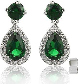 Meyome Sterling Silver Simulated Emerald CZ Teardrop Drop Earrings Wedding Bridal Earrings in White Gold Plated (Green)