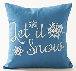 Best Gift for Winter Christmas Let It Snow And Beautiful Snowflakes Blue Background Cotton Linen Throw Pillow Case Cushion Cover Home Office Decorative Square 18 X 18 Inches