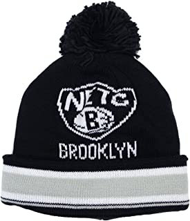 adidas Brooklyn Nets Solid Logo Striped Cuff Pom Knit Beanie Hat/Cap