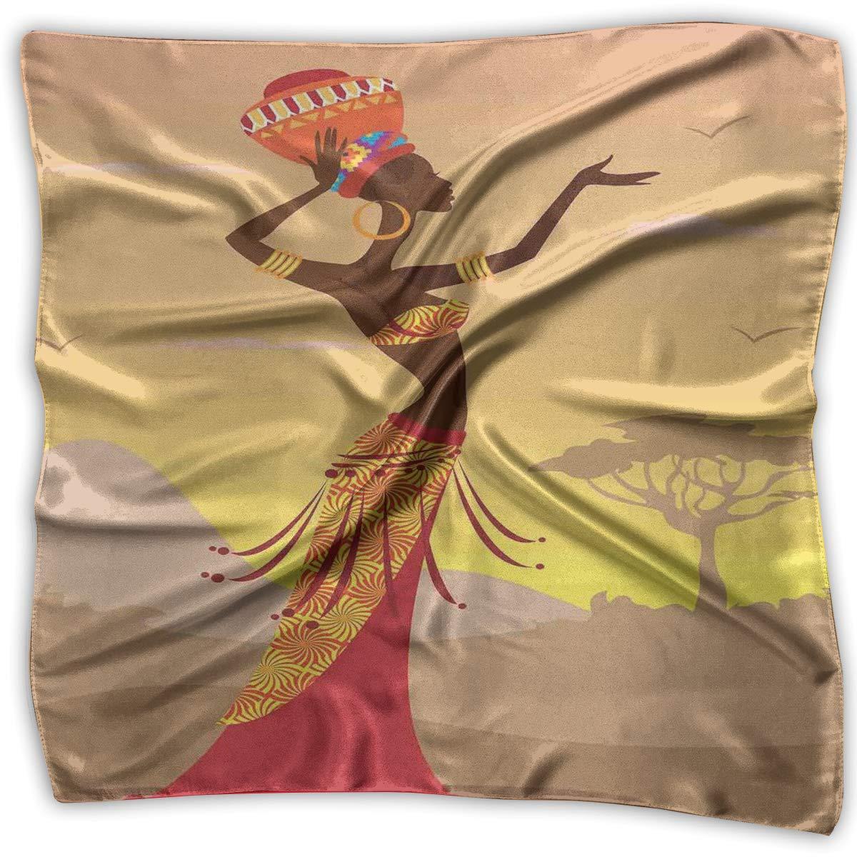 Bandana Head and Neck Tie Neckerchief,African Woman In Desert With Gulls Flying Around Folk Female Stylish Artful Print Theme,Headband
