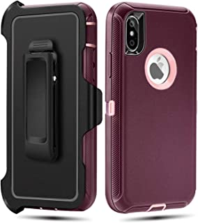 FOGEEK Case for iPhone X/XS,Belt Clip Holster Heavy Duty Kickstand Cover [Support Wireless Charging] [Dust-Proof] [Shockproof] Compatible for Apple iPhone X/XS, 5.8 inch (Dark Violet/Pink)
