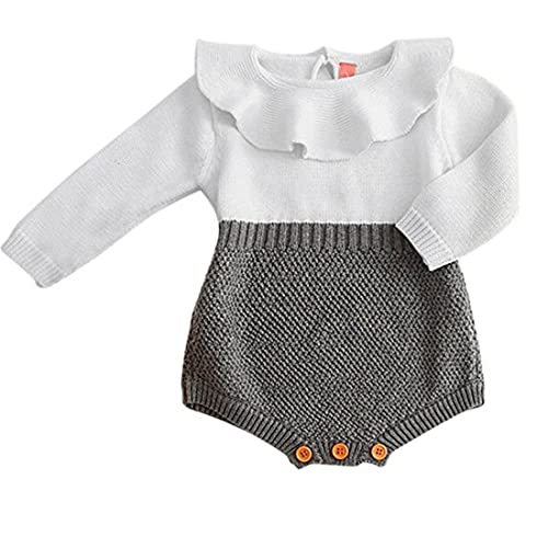 96eeed0fdda2 HappyMA Toddler Baby Girl Romper Knitted Ruffle Doll Collar Long Sleeve  Bodysuit Jumpsuit Outfits Casual Clothing