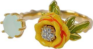 MOONSTONE Fashion Jewelry Ring for Women Stylish Rose Flower Enamel Opal Stone, Adjustable Size