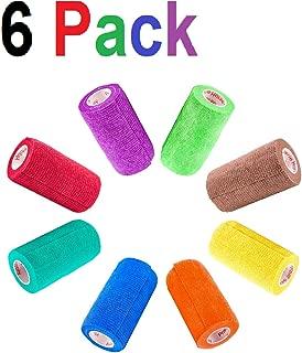4 Inch Vet Wrap Tape Bulk (Assorted Colors) (6, 12, 18, or 24 Packs) Self-Adhesive Self Adherent Adhering Flex Bandage Rap Grip Roll for Dog Cat Pet Horse