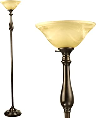 Stand Up Lamp for Living Room by LIGHTACCENTS - Traditional Standing Floor Lamp with Alabaster Glass Shade Torchiere Floor La