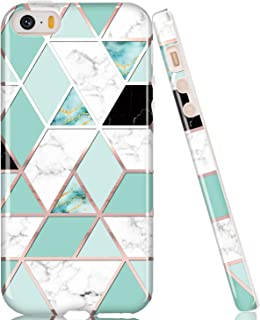 LUOLNH Compatible with iPhone 5 5S SE Case,Marble Design,Shockproof Clear Bumper TPU Soft Case Rubber Silicone Skin Cover Case for iPhone 5 5s SE (Mint Grid)