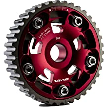 VMS RACING Adjustable Fang CAM GEAR in RED Anodized Machined CNC Billet Aluminum Compatible with Honda Civic D15 D16 1.5L 1.6L SOHC 92-95 1992-1995