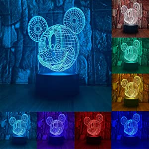 Cute Mickey Mouse Head 3D LED Optical Illusion Acrylic Night Light with Remote 7 Colors Change Dimmable USB Powered Bedroom Decor Table Lamp Birthday Christmas Gift for Child,kids,Teens,Toddlers