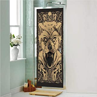 Wolf 3D No Glue Static Decorative Privacy Window Films, Angry Carnivore Animal Face with Skull Ornamental Curlicues Swirls Lines Frame Decorative,24