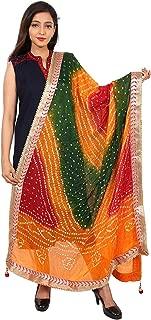 beriya fashion Women's Silk Bandhej Multicolor Dupatta(Multicolor)