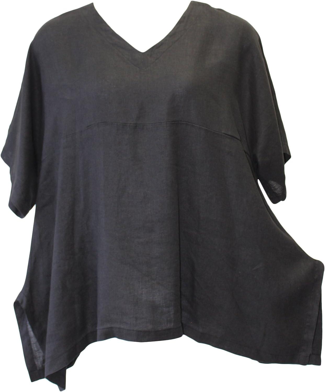 Match Point Women's Linen Oversized Black Kimono Tunic