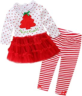 1-5T Baby Toddler Little Girls My 1st Christmas Clothes Long Sleeve Ruffles Tutu Dresses + Stripe Pants Outfits Set