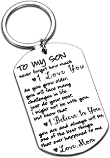 Son Gifts from Dad Mom to Son Inspirational Keychain Gifts for Teen Boys Teens Teenage Teenagers Valentines Day Birthday C...