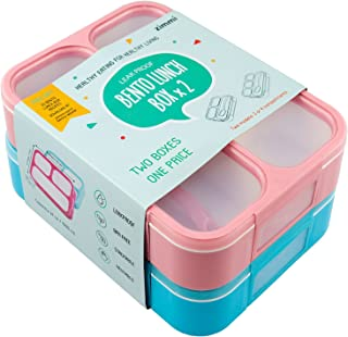 Lunch Box Set of 2 Leakproof Lunch Containers, Pink Blue, 3-4 Insulated Compartments, Lightweight Bento Lunch Boxes for Kids Adults Athletes, Fit for Meal Prep, Snacks, Portion Control | by Zimmi